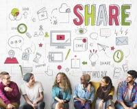 Begrepp för information om nätverkande för aktieåterkopplingsutbyte arkivfoto