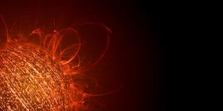 Begrepp för informationsöverbelastning Sfär som skapas från binära data med glödande röd färg- och värmeflammautsändande royaltyfri foto