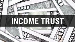 Begrepp för inkomstförtroendeCloseup Amerikanska dollar kontanta pengar, tolkning 3D Inkomstförtroende på dollarsedeln Finansiell stock illustrationer