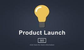 Begrepp för innovation för marknadsföring för ny produktlansering kommersiellt stock illustrationer