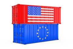 Begrepp för internationell sändnings Lastsändningsbehållare med den USA och för europeisk union flaggan framförande 3d stock illustrationer