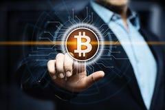 Begrepp för internet för affär för teknologi för valuta för mynt BTC Bitcoin Cryptocurrency för Digital bit Arkivbilder