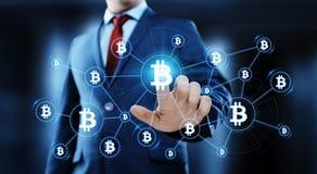 Begrepp för internet för affär för teknologi för valuta för mynt BTC Bitcoin Cryptocurrency för Digital bit royaltyfria foton