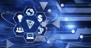 Begrepp för internet för affär för Tron Cryptocurrency Digital valutateknologi royaltyfri illustrationer