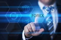 Begrepp för internet för affär för valuta för utbyte för investering för Forexhandelaktiemarknad Fotografering för Bildbyråer