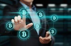 Begrepp för internet för affär för teknologi för valuta för mynt BTC Bitcoin Cryptocurrency för Digital bit Arkivfoto