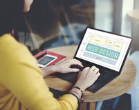 Begrepp för internet för Website för teknologi för rengöringsdukdesignorientering Arkivfoton