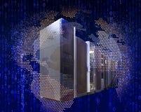 Begrepp för internet och för globala kommunikationer: raden av nätverksserveror och blått jordar en kontakt jordklotet på vitt re Arkivbild