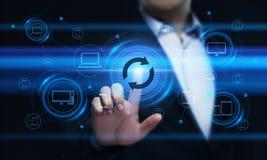 Begrepp för internet för teknologi för affär för förbättring för uppdateringprogramvarudataprogram arkivfoton