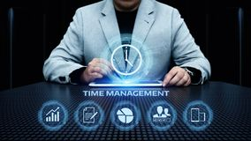 Begrepp för internet för teknologi för affär för mål för strategi för effektivitet för projekt för Tid ledning arkivfoto
