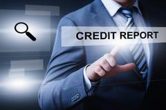 Begrepp för internet för teknologi för affär för skuld för kreditupplysningställninghistoria arkivfoto