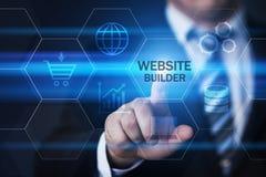 Begrepp för internet för teknologi för WebsitebyggmästareWeb Design Development affär Arkivfoton