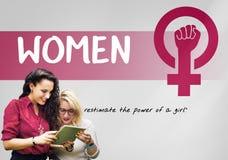 Begrepp för jämställdhet för feminism för kvinnaflickamakt Arkivbild