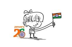 26 begrepp för januari republikdag med lite den hållande indiern för pojke royaltyfri illustrationer
