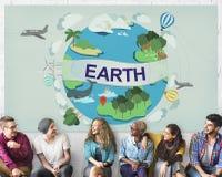 Begrepp för jordklot för beskydd för jordekologimiljö arkivfoton