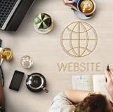 Begrepp för jordklot för Websiteinternetteknologi arkivfoto
