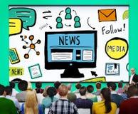 Begrepp för journalistik för massmedia för nyhetsartikelannonseringpublikation arkivbild