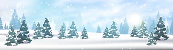 Begrepp för jul för blå himmel för sikt för Snövit för vinterForest Landscape Horizontal Banner Pine träd fallande stock illustrationer