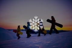 Begrepp för jul för häftig snöstorm för snövintersnöflinga Arkivfoto