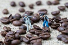 Begrepp för för kaffeaffärsexpert eller professionell, lycklig miniatyr royaltyfria foton