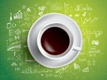 Begrepp för kaffekopp - affärsklottret med coffe rånar Royaltyfri Foto