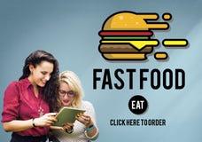 Begrepp för kalorier för mål för Fastfoodhamburgareskräp Takeaway arkivbild