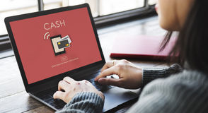 begrepp för kassa för bankrörelsen för E-kommers Digital betalning Royaltyfria Foton