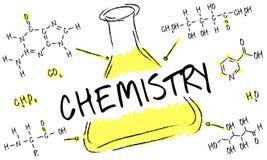 Begrepp för kemikalie för formel för vetenskapsexperimentlaboratorium vektor illustrationer