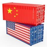 Begrepp för Kina och Förenta staternahandelkrig, tolkning 3d vektor illustrationer