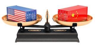 Begrepp för Kina och USA handeljämvikt, tolkning 3D stock illustrationer