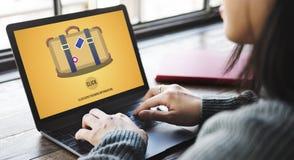Begrepp för klick för resa för loppbagageresväska arkivbilder