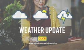 Begrepp för klimat för förutsägelse för information om väderuppdatering dagligt royaltyfri bild