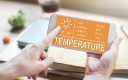 Begrepp för klimat för varmt väder för temperaturvärme royaltyfri bild