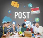 Begrepp för kommunikation för social aktie för massmedia för stolpeblogg online- Arkivbild