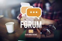 Begrepp för konferens för globala kommunikationer för forumdiskussion Arkivbilder