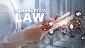 Begrepp för konkurslag Obeståndlag Advokataffärsidé för juridiskt beslut Finansiell bakgrund för blandat massmedia royaltyfri illustrationer