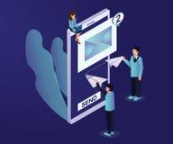 Begrepp för konstverk för online-Emailmarknadsföring isometriskt royaltyfri illustrationer