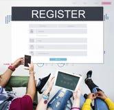 Begrepp för konto för registreringsapplikationmedlemskap arkivfoto