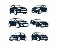 Begrepp för konturlogodesign Samlingsbil Logo Vector Template royaltyfri illustrationer