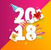 Begrepp för kort för hälsning för nytt år för 2018 parti vektor stock illustrationer