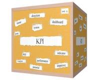 Begrepp för KPI 3D kubCorkboard ord Royaltyfria Bilder