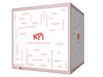 Begrepp för KPI ordmoln på 3D en kub Whiteboard Arkivbild