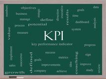 Begrepp för KPI ordmoln på en svart tavla Arkivfoton
