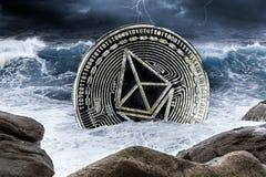 Begrepp för krasch för Ethereum crypto valutafinansmarknad arkivbilder