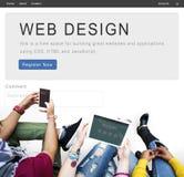 Begrepp för kreativitet för orientering för WebsitedesignHomepage royaltyfri foto