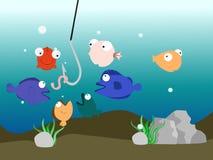 begrepp för krok för illustrationfiskbehållare färgrikt royaltyfria bilder