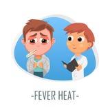 Begrepp för läkarundersökning för febervärme också vektor för coreldrawillustration Royaltyfri Foto