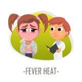 Begrepp för läkarundersökning för febervärme också vektor för coreldrawillustration Royaltyfria Foton