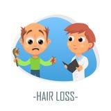 Begrepp för läkarundersökning för hårförlust också vektor för coreldrawillustration Arkivfoto