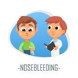 Begrepp för läkarundersökning för näsblödning också vektor för coreldrawillustration Arkivbilder